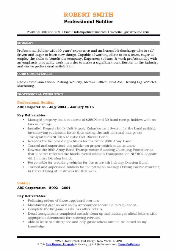 Professional Soldier Resume Template