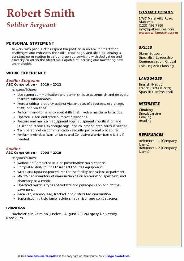 Soldier Sergeant Resume Model