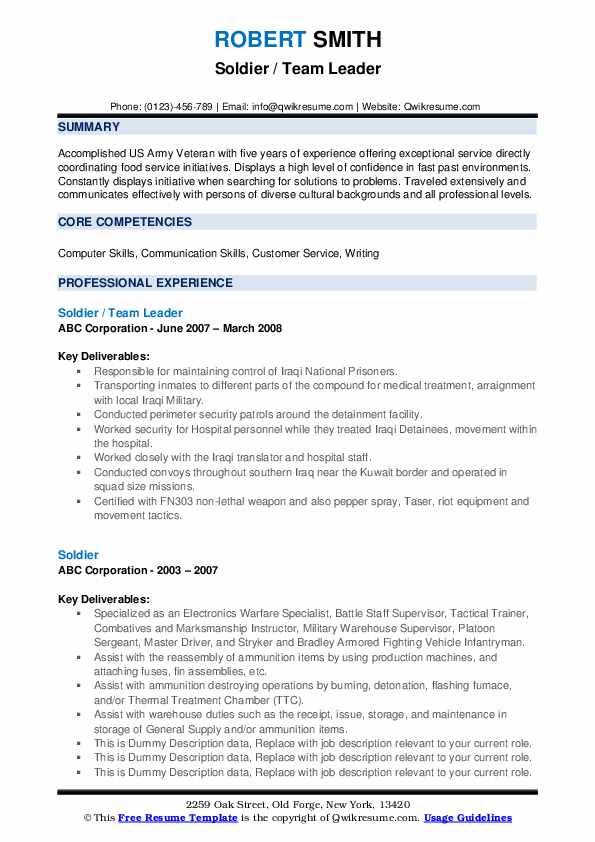 Soldier / Team Leader Resume Sample