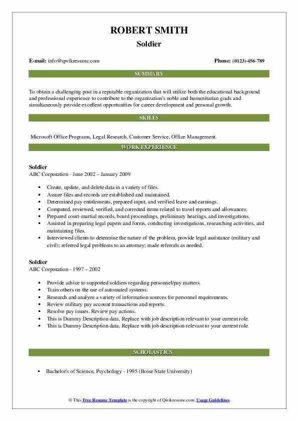 Soldier Resume Sample