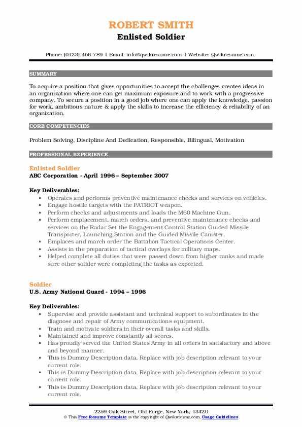 Enlisted Soldier Resume Format