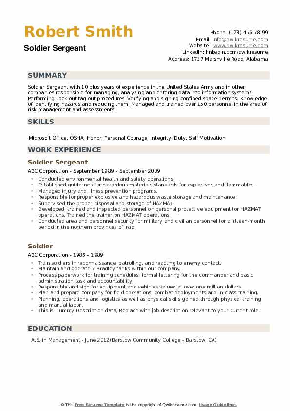 Soldier Resume example