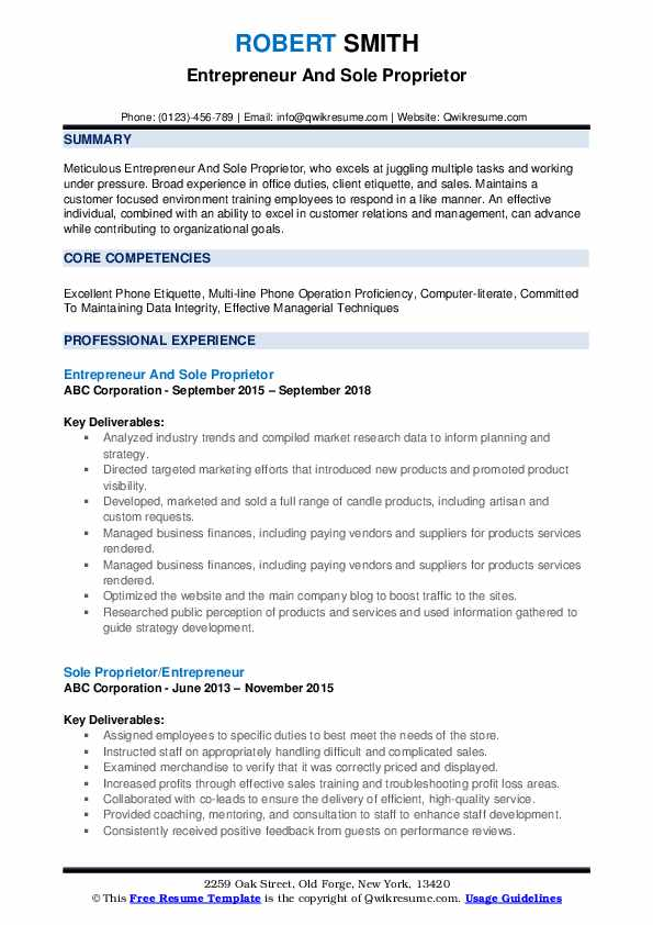 Entrepreneur And Sole Proprietor Resume Example