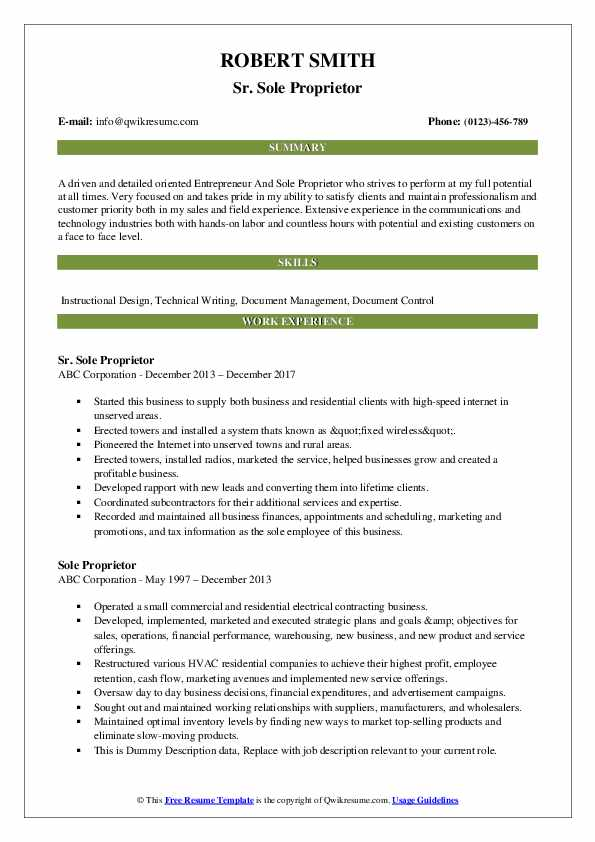 Sole Proprietor Resume Samples Qwikresume