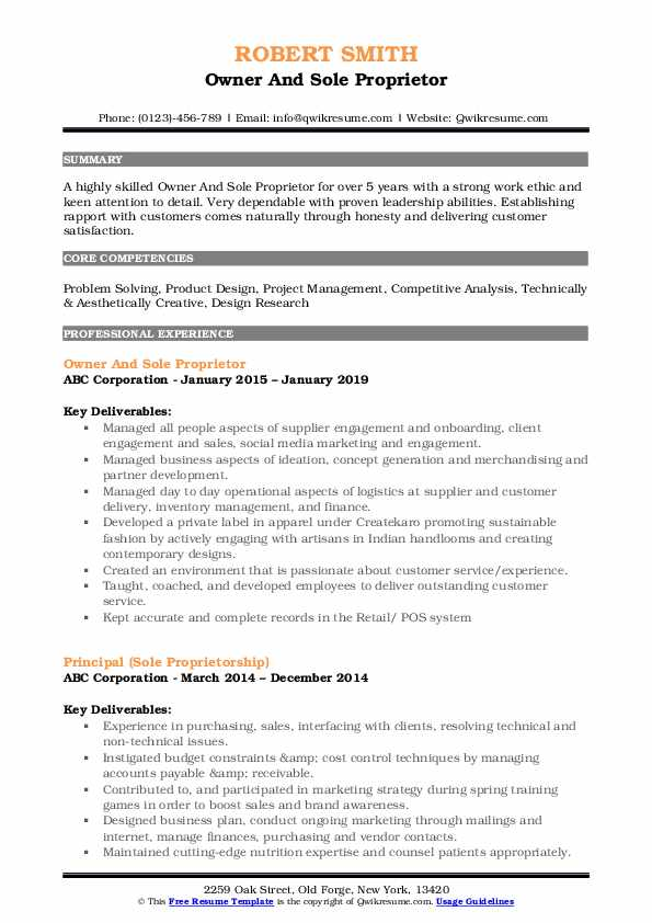 Owner And Sole Proprietor Resume Template