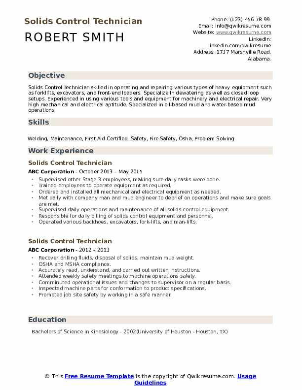 Solids Control Technician Resume example