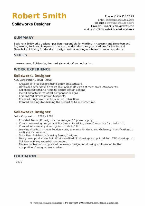 Solidworks Designer Resume example