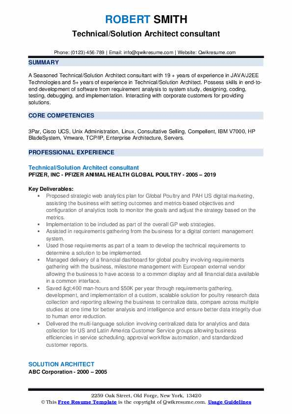 Technical/Solution Architect consultant Resume Format