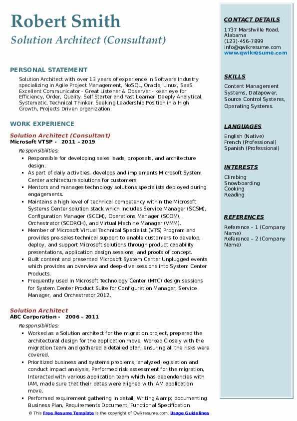 Solution Architect (Consultant) Resume Format