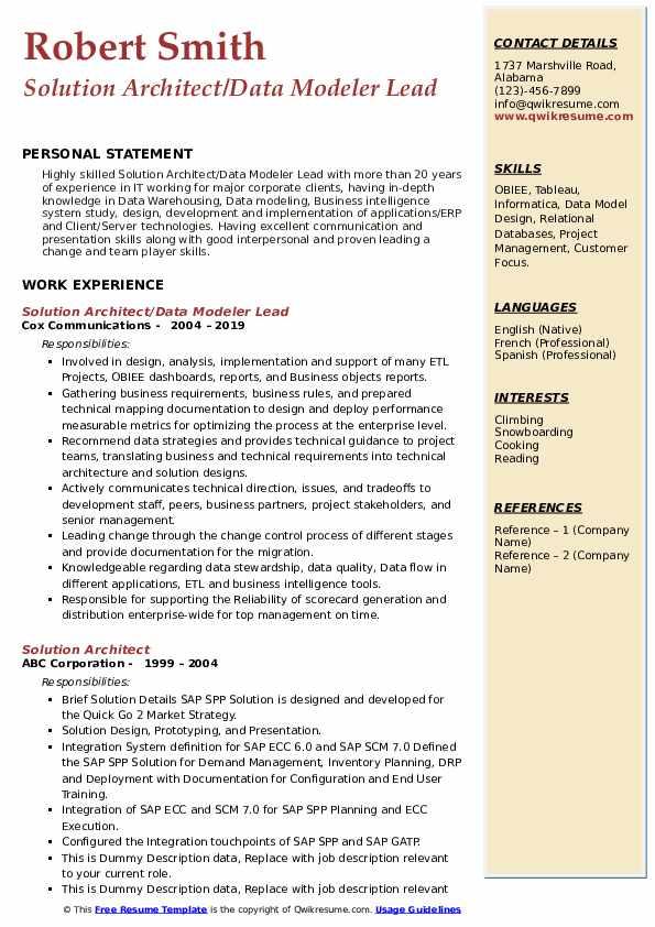 Solution Architect/Data Modeler Lead Resume Format