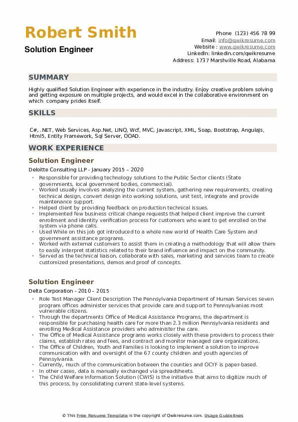 Solution Engineer Resume example