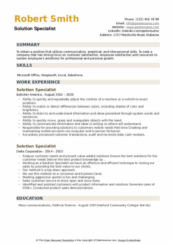 Solution Specialist Resume example