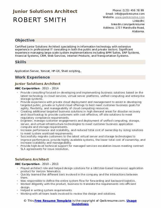 Junior Solutions Architect Resume Example
