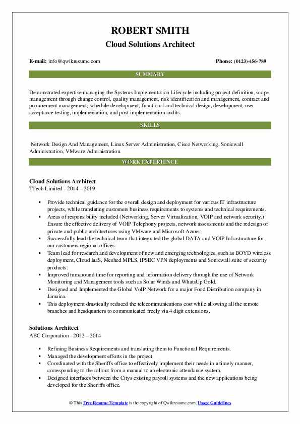 Cloud Solutions Architect Resume Model