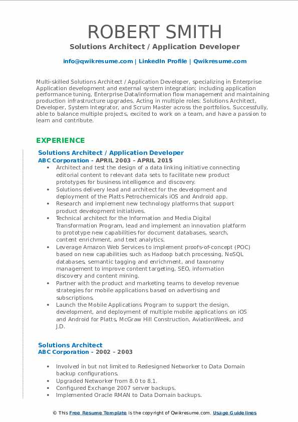 Solutions Architect / Application Developer Resume Format