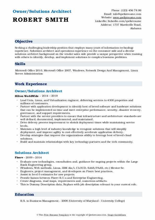 Owner/Solutions Architect Resume Model