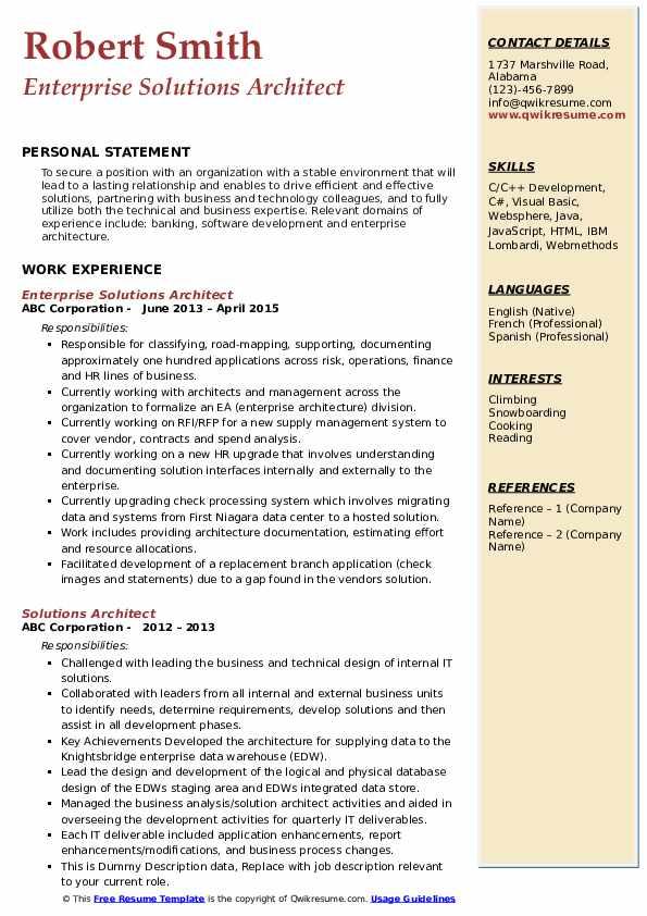 Enterprise Solutions Architect Resume Example