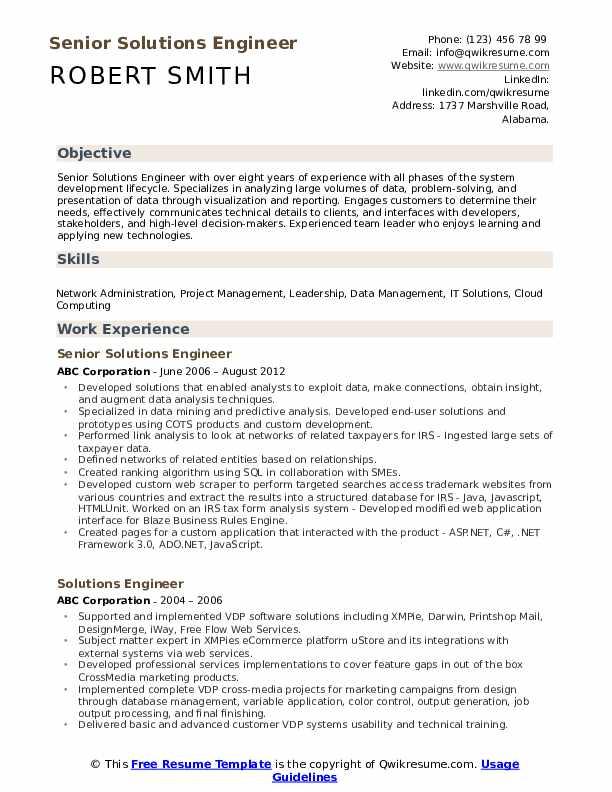 Senior Solutions Engineer Resume Template