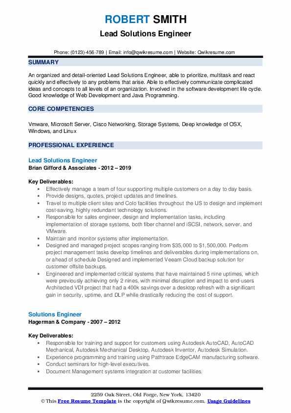 Lead Solutions Engineer Resume Model
