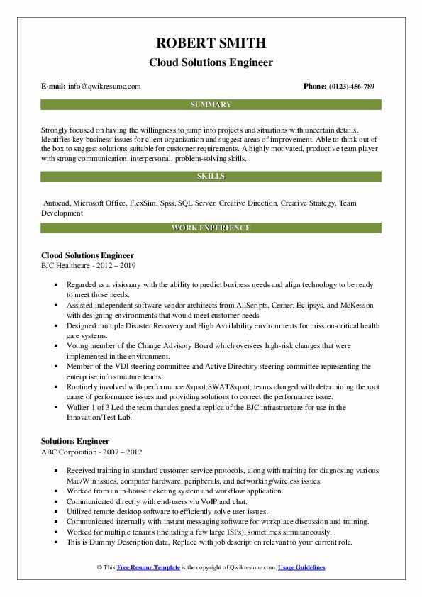 Cloud Solutions Engineer Resume Model