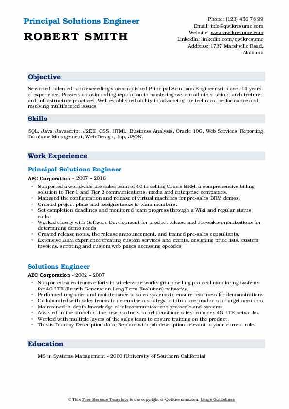 Principal Solutions Engineer Resume Example