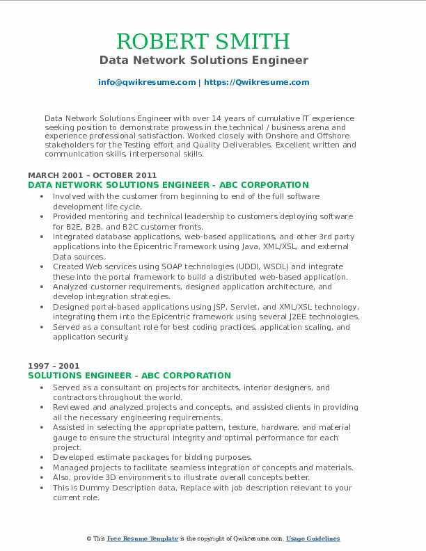 Data Network Solutions Engineer Resume Model