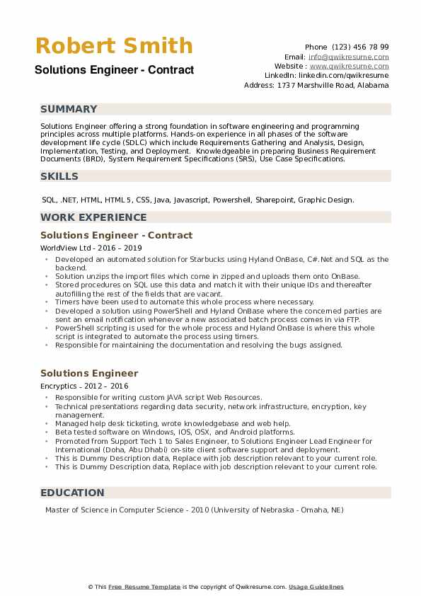 Solutions Engineer Resume example