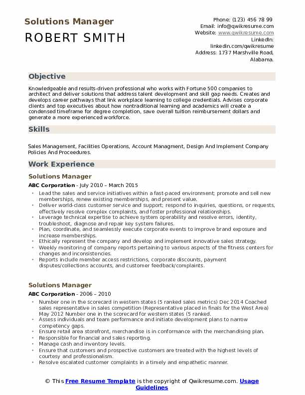 Solutions Manager Resume Sample