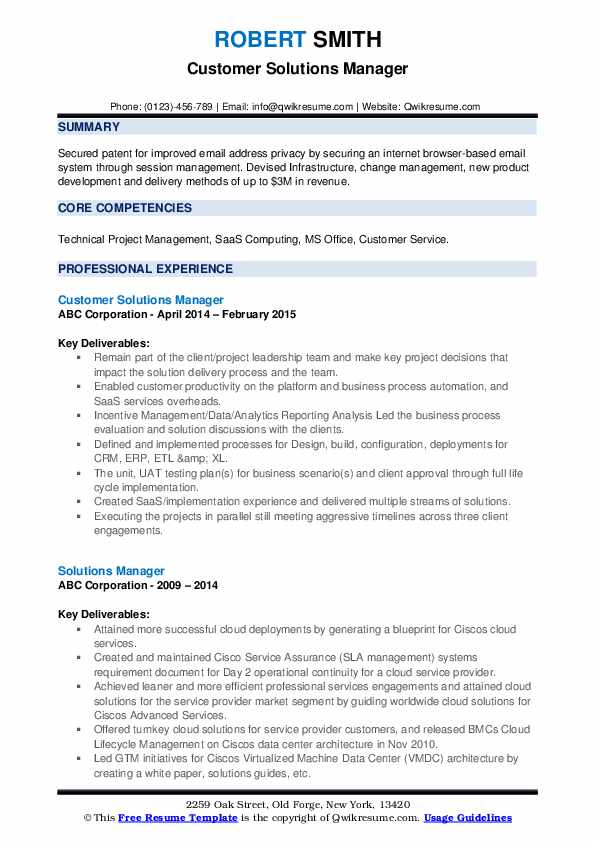 Customer Solutions Manager Resume Model