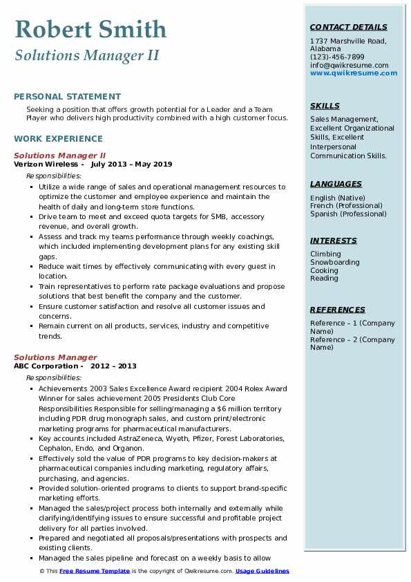 Solutions Manager II Resume Format