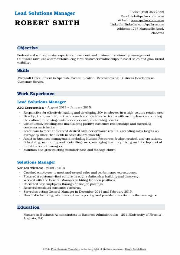 Lead Solutions Manager Resume Format