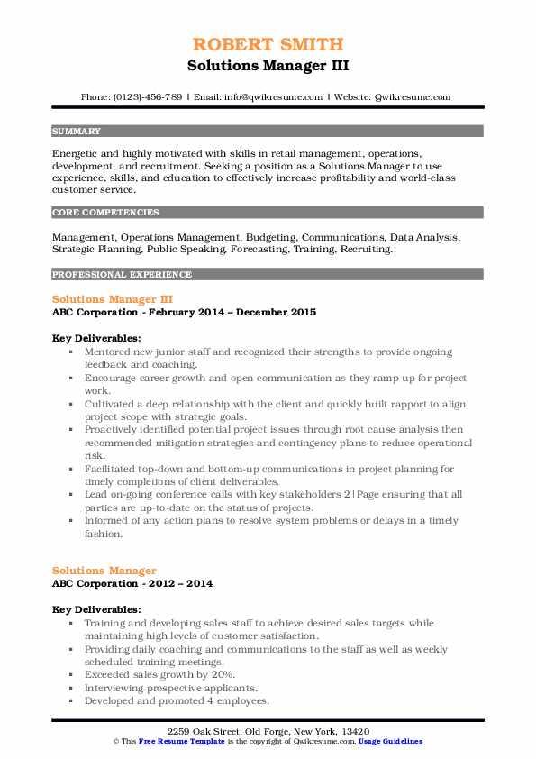 Solutions Manager III Resume Model