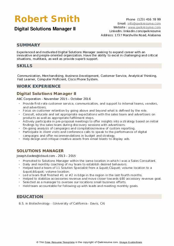 Digital Solutions Manager II Resume Example