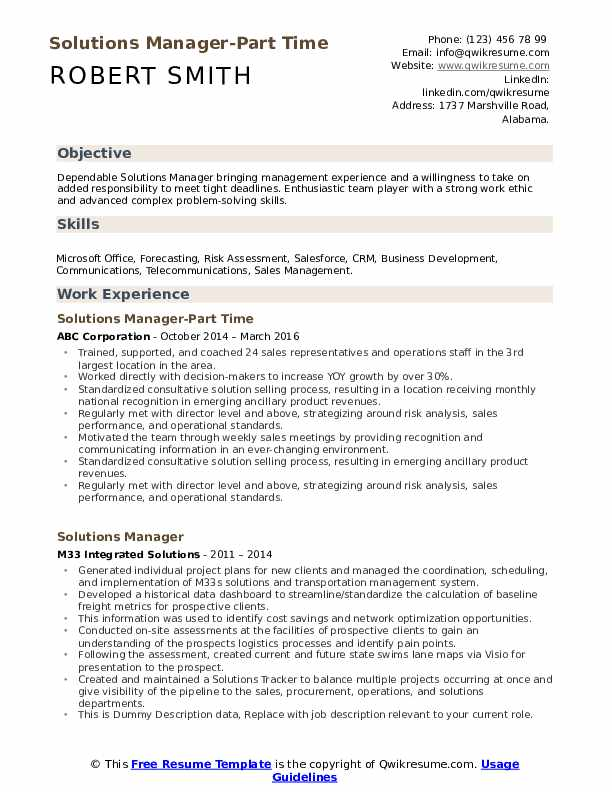Solutions Manager-Part Time Resume Sample