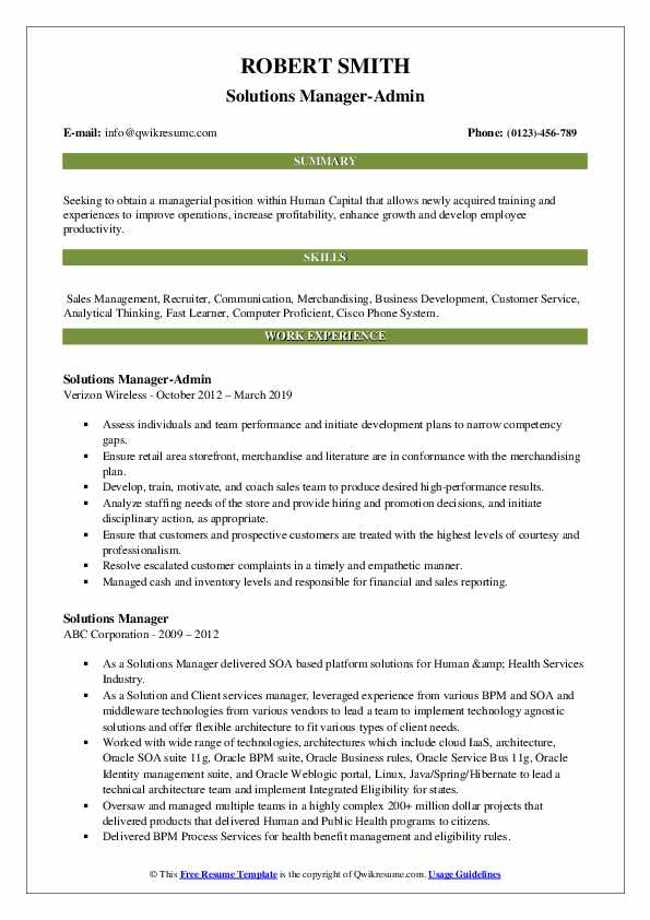 Solutions Manager-Admin Resume Sample