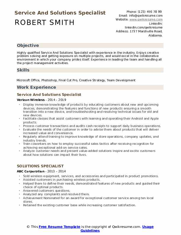 Service And Solutions Specialist Resume Sample