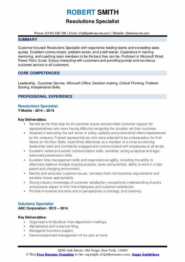 Resolutions Specialist Resume Model
