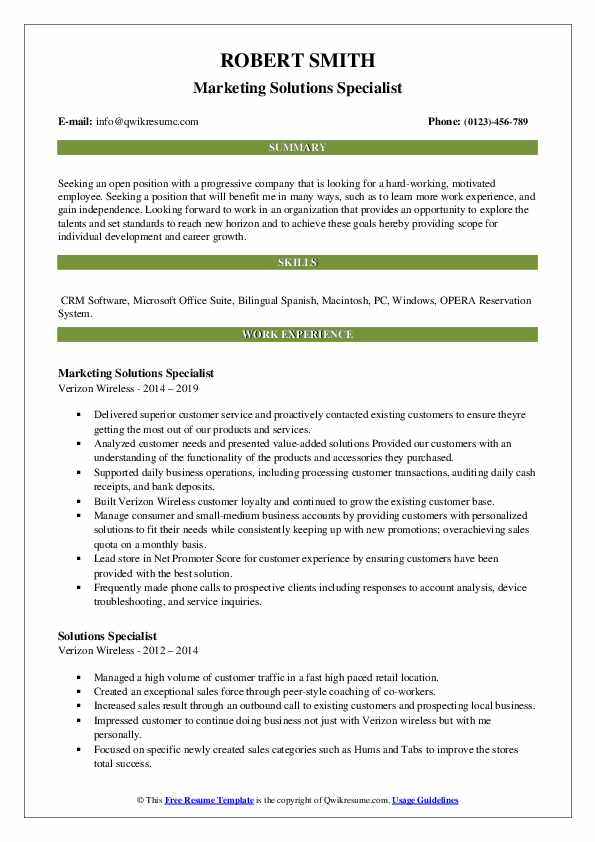 Marketing Solutions Specialist Resume Example