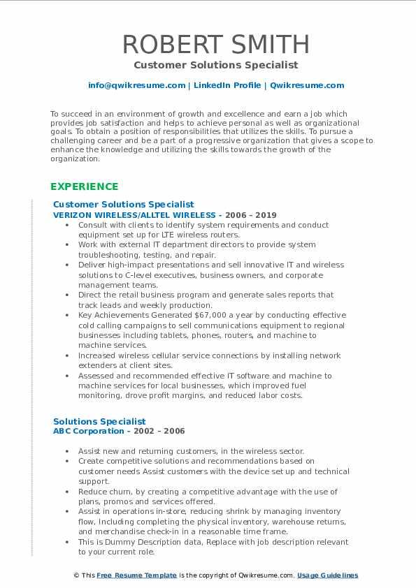 Customer Solutions Specialist Resume Sample