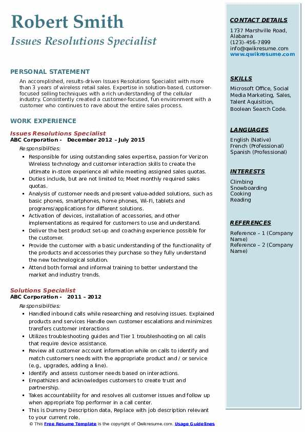Issues Resolutions Specialist Resume Sample