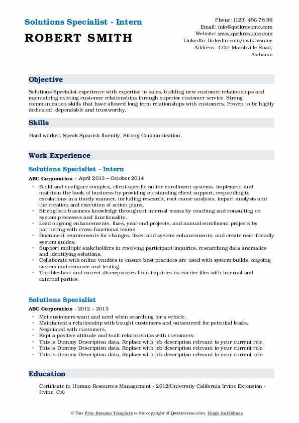Solutions Specialist - Intern Resume Format