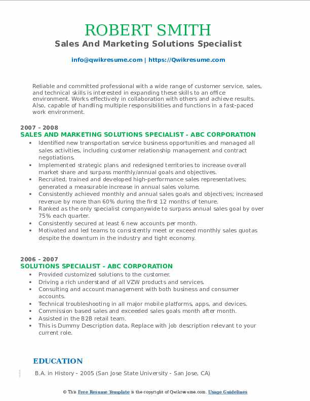 Sales And Marketing Solutions Specialist Resume Sample