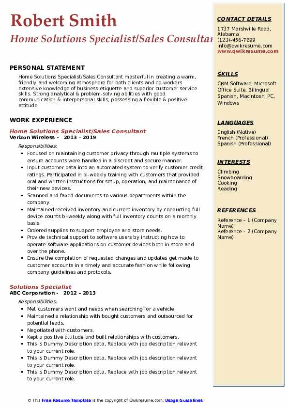 Home Solutions Specialist/Sales Consultant Resume Sample