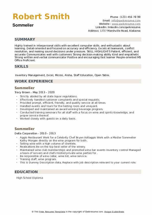 Sommelier Resume example