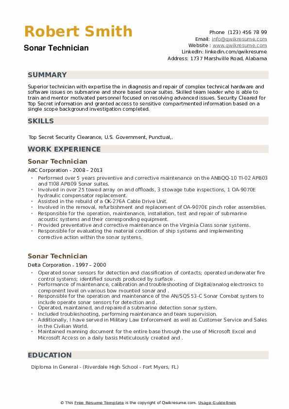 Sonar Technician Resume example