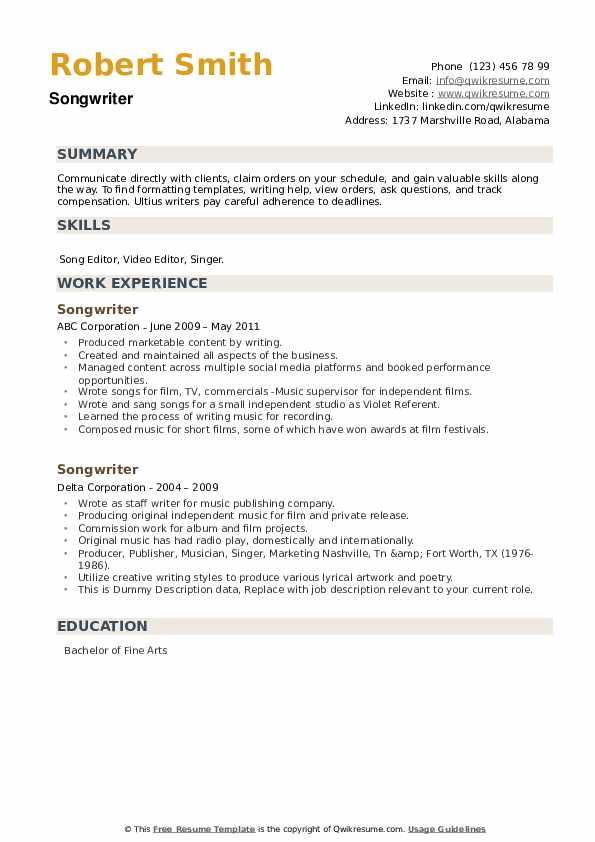 Songwriter Resume example