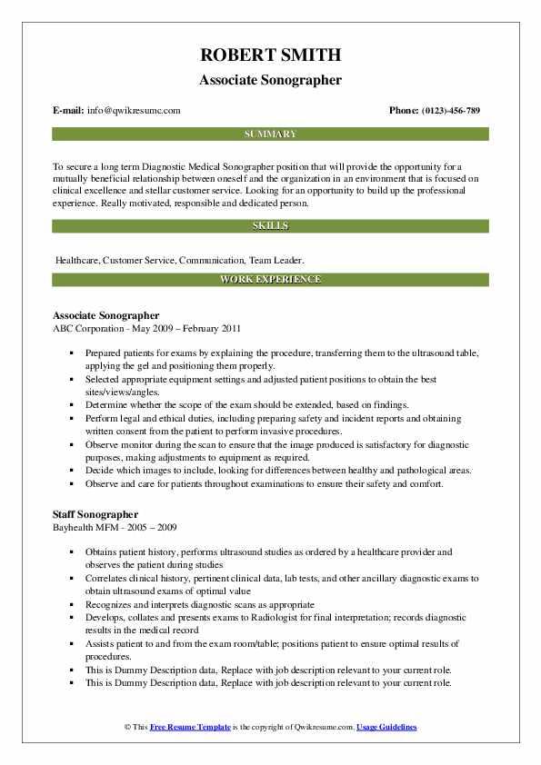 Associate Sonographer Resume Model