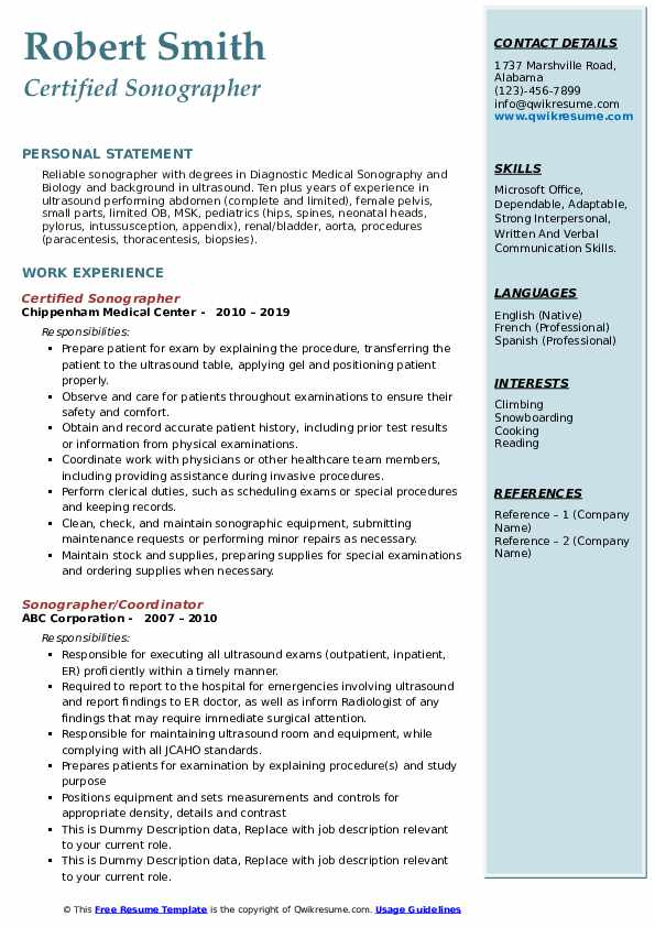 Certified Sonographer Resume Template