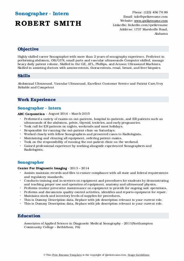 Sonographer - Intern Resume Sample
