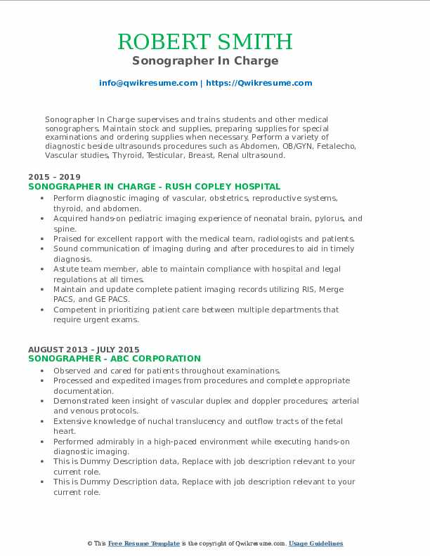 Sonographer In Charge Resume Sample
